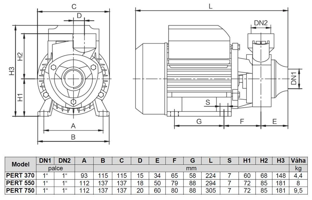 Werter PERT - rozměry čerpadla