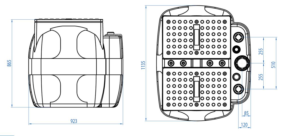 Dreno BOX 600 - rozměry