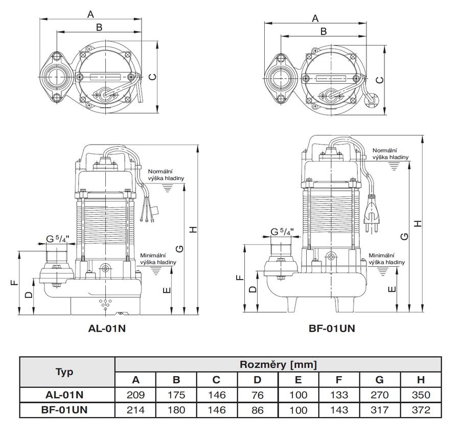 HCP AL01 - rozměry