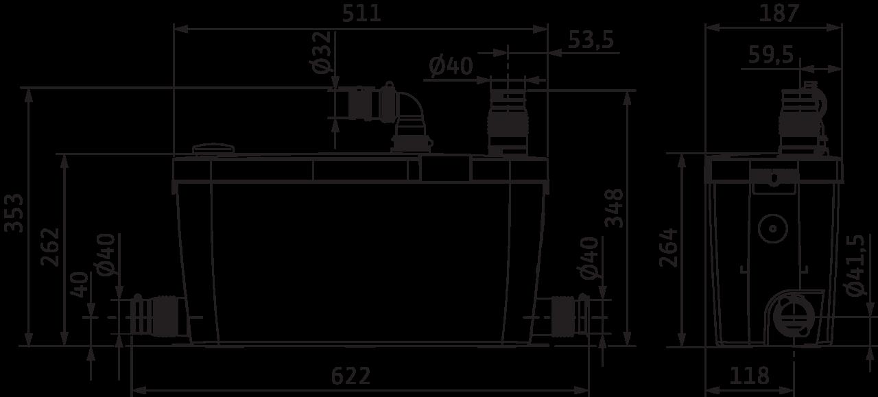 Wilo HiDrainlift - rozměry