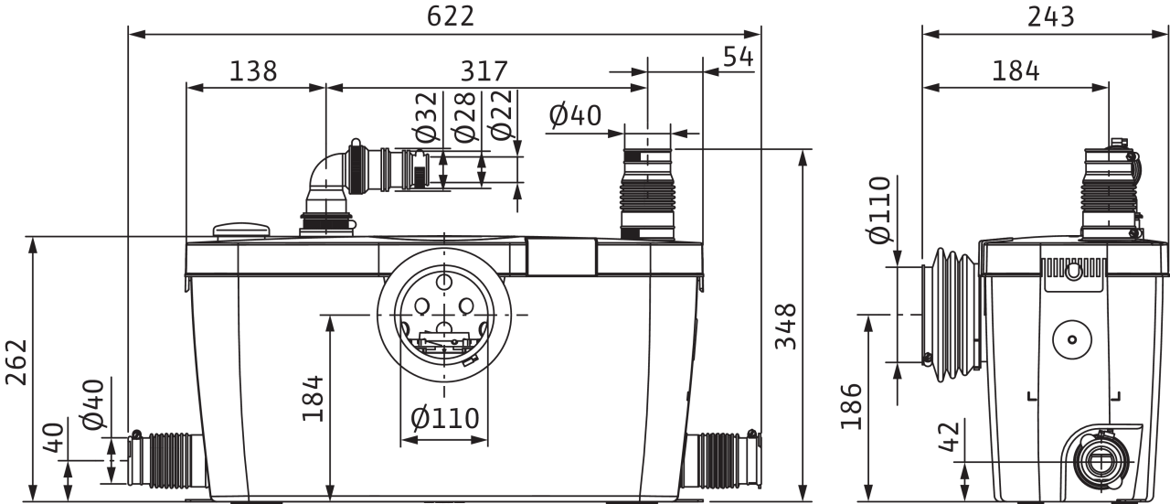Wilo HiSewlift - rozměry